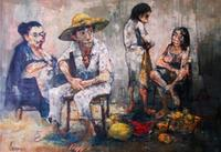 Family of Four with Fruit Basket by Jean Jansem