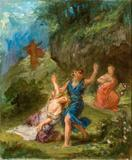 "Eugène Delacroix, ""Spring: Orpheus and Eurydice"", oil sketch, 1862.  Oil on canvas, 24 x 19.9 in.  Musée Fabre, Montpellier Agglomération (inv.  868.1.42)."