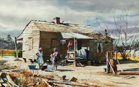 Southern Cabin, 1975, watercolor by Ogden M.  Pleissner (1905-1983), Estimated $40/60,000, sold for $138,000.