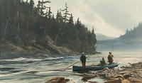 Ogden M.  Pleissner, Salmon Fishing, watercolor, 16 1/2 by 28 1/2 in., ($40/60,000)