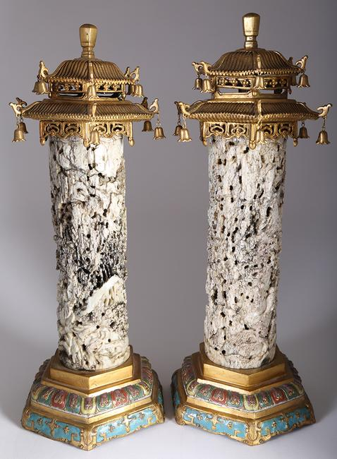 A pair of Qing dynasty Chinese 'Chicken Bone' Jade Censers set with later gilded metal and enamel mounts