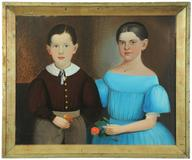 "Americana oil on canvas portrait of siblings, signed and dated ""W.  M.  Prior 1858"" will be sold by Garth's (Delaware, Ohio) on January 12."