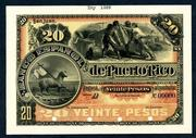 This beautiful and rare Banco Espanol de Puerto Rico circa 1889-1890 20 Pesos proof banknote rarity will be sold Feb.  23rd in Fort Lee, N.J.