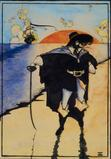 """The Pirate"" by Howard Pyle, watercolor and ink, 13 x 9 in.  sight (33.0 x 22.9 cm sight) a feature of the Barridoff auction"