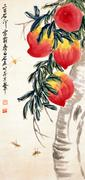 "Qi Baishi ""Massive Peaches, Baishi.  Hanging scroll, ink and color pigment on paper.  Signed Qi Baishi, with two artist seals.  (Lot 17)"
