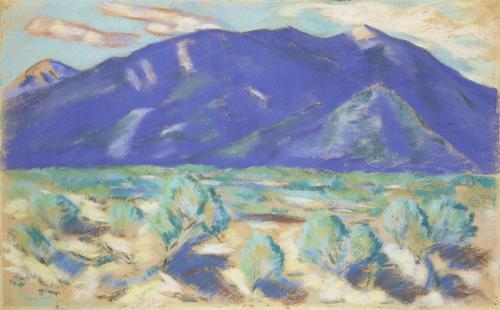 Marsden Hartley (1877-1943) Blue Mountain, New Mexico, 1918.  Pastel on paper 17 x 27 1/2 inches.  James Reinish & Associates, Inc.