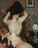 Frank Weston Benson, Lady Trying on a Hat , 1904, Gift of Walter Callender, Henry D.  Sharpe, Howard L.  Clark, William Gammell , and Isaac C.  Bates.  Courtesy of the RISD Museum, Providence, RI.