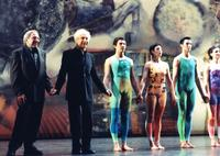 : Robert Rauschenberg with Merce Cunningham and members of the Merce Cunningham Dance Company.  The Eisenhower Theater, John F.  Kennedy Center, Washington DC, 2000.