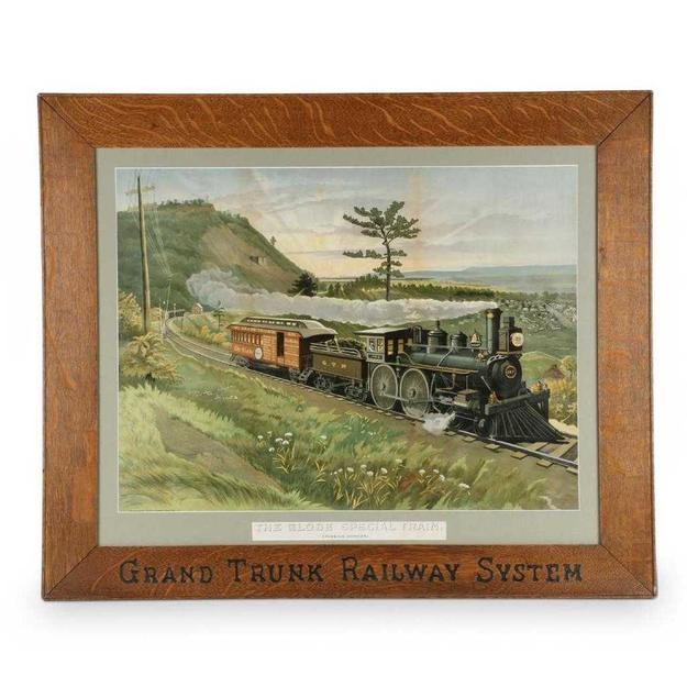 "Rare early Canadian Grand Trunk Railway System lithograph advertising poster signed ""Toronto Lithographing Co"" and titled The Globe Special Train, Passing Dundas (CA$5,400)."