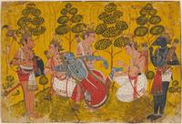 Rama's Brother Pulling a Thorn from His Foot, illustration from the Ramayana, Indian, c.  1700–10.  Opaque watercolor and gold on paper.  Harvard Art Museums/Arthur M.  Sackler Museum, Richard Norton Memorial Fund, 2011.97.