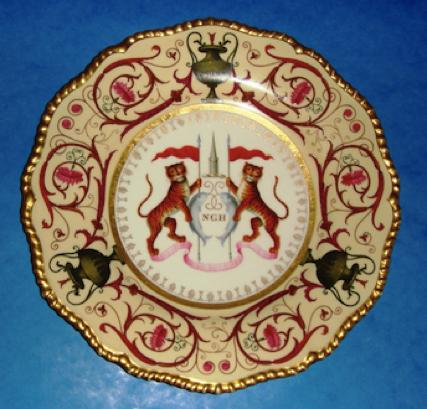 Worcester Flight Barr & Barr armorial plate made for the Nabob of Oude, circa 1815.