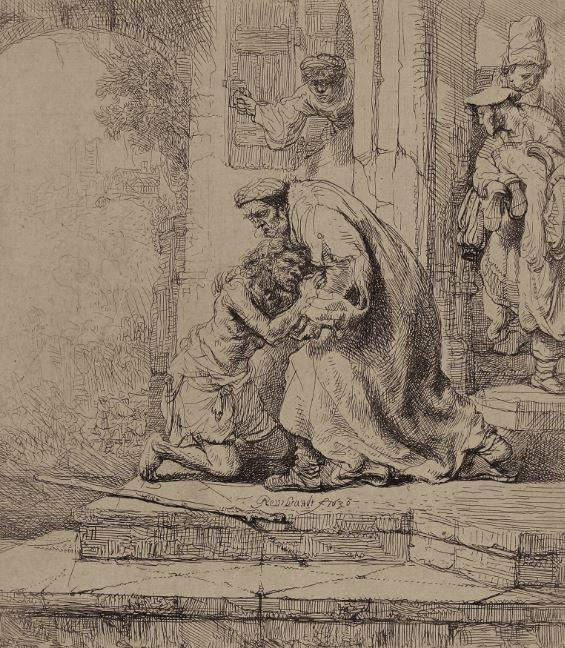 The Return of the Prodigal Son, 1636 Etching on laid paper 6 ¼ x 5 7/16 in.