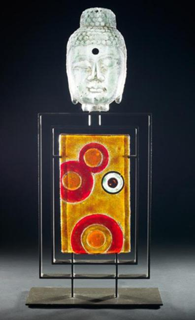 Retro Circles Buddha, glass, copper, and steel, 35 x 16 x 7 inches