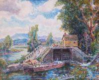 Reynolds Beal, Lefever Lock, 1920, oil on canvas, 29 x 36