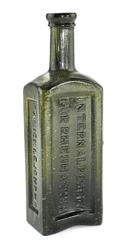 M.A.  Micklejohn N.O.  / Washington Internal Remedy for Rheumatism bottle, made in New Orleans circa 1840-1860 and boasting a deep olive-green color (est.  $10,000-$15,000).