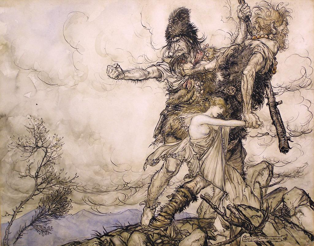 Rhinegold and the Valkyrie, a watercolour drawing by Arthur Rackham.  £35,000.