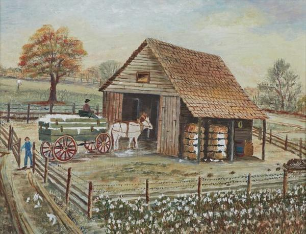 Oil on Masonite painting by Rhoda Brady Stokes (La., 1901-1988), titled Cotton Wagon Going Into the Barn, signed and dated (est.  $1,500-$2,500).