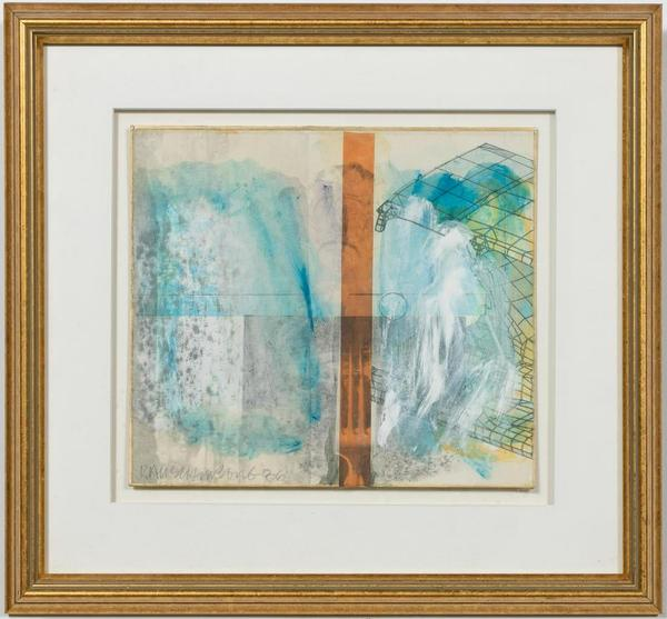 "Signed mixed media work by Robert Rauschenberg (American, 1925-2008), with imagery of satellites, utensils, 3-D constructs, medallions, etc., dated ""86"" (est.  $15,000-$30,000)."