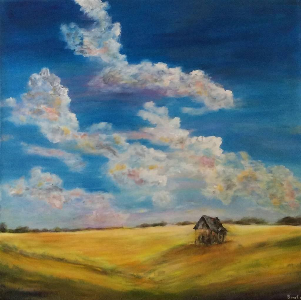 Robert Scurfield, Old House on the Prairies, Acrylic on Canvas, 40''x 40''