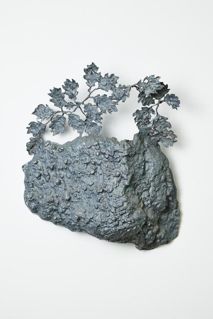 "Robert Lobe, ""Rock and Leaf Study"", 2007.  Hammered galvanized iron.  43""x39""x18"""