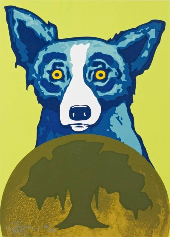 "Silkscreen (46/120) by the renowned ""Blue Dog"" artist George Rodrigue (1944-2013), titled Take Me to Your Leader (1997), silver pen signed and numbered (est.  $800-$1,200)."