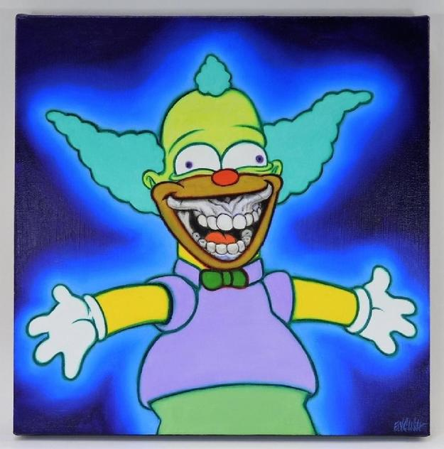 Painting of the Simpsons character Krusty the Clown by Ron English (Ill./Tex., b.  1959), 16 inch by 16 inch acrylic on canvas titled Krusty the Grin, circa 2017 (est.  $20,000-$25,000).