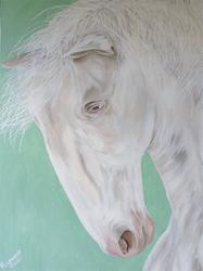 Rosemery Torres, White Horse, Acrylic on Canvas, 40'' x 30''