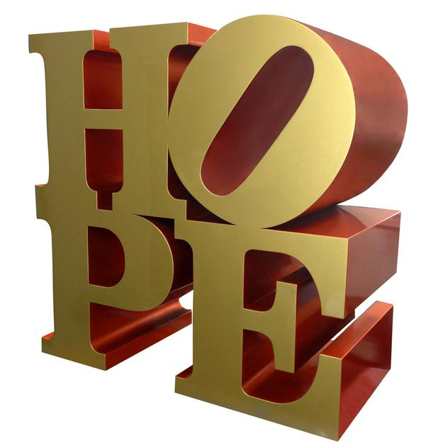 From Rosenbaum Contemporary, Robert Indiana's HOPE, Gold, Red.
