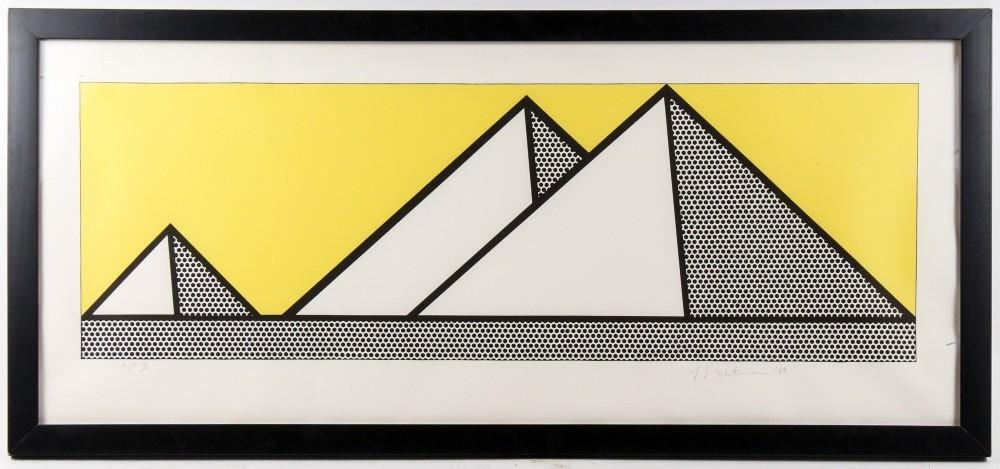 Two signed lithographs by Roy Lichtenstein, both from 1969, to include this one titled Pyramids, will be sold at auction Aug.  8-9 in Atlanta.
