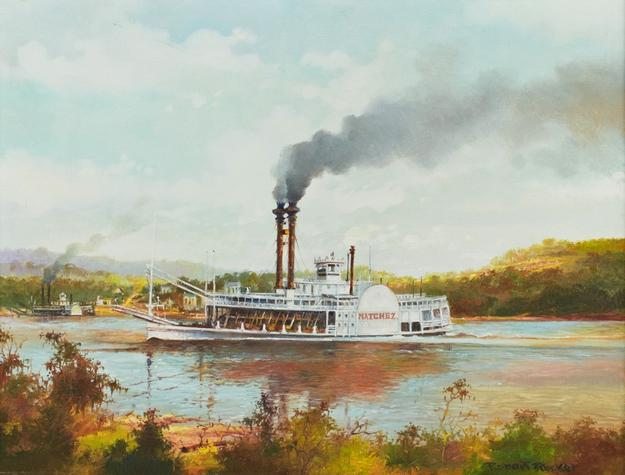 Oil on canvas painting by Robert M.  Rucker (La., 1932-2000), titled The Steamboat Natchez (est.  $2,000-$4,000).