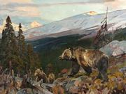 "Rungius, Carl 1869-1959 ""Grizzly Bear and Cubs"" oil 24 x 32"