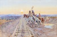 """Trail of the Iron Horse"" by Charles M.  Russell is expected to realize $1,500,000 - $2,500,000 through The 2014 Coeur d'Alene Art Auction on July 26, 2014, with online bidding available through Invaluable.com."