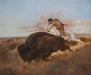 Charles M.  Russell (1864–1926), Buffalo Hunting, 1894, oil on canvas, 20 x 24 in, Estimate: $500,000–$750,000