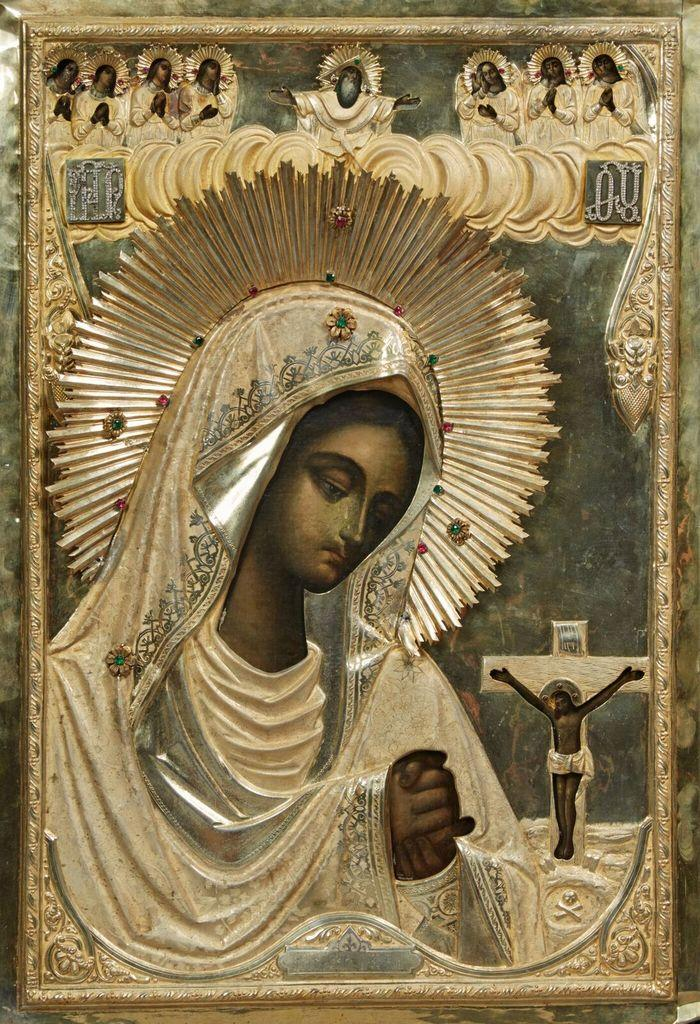Russian icon of the Virgin Akhtirskaya made in Moscow between 1896 and 1908 by the Russian artisan Ivan Khlebnikov, measuring 40 inches tall by 27 inches wide (est.  $15,000-$25,000).