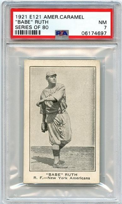 The highest graded example of Babe Ruth's 1921 E121 American Caramel baseball card – one of only 68 cards known across all three E121 Ruth variations (minimum bid: $25,000).