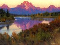 """First Light on Mt.  Moran,"" by Steve Datz - Oil on Canvas"