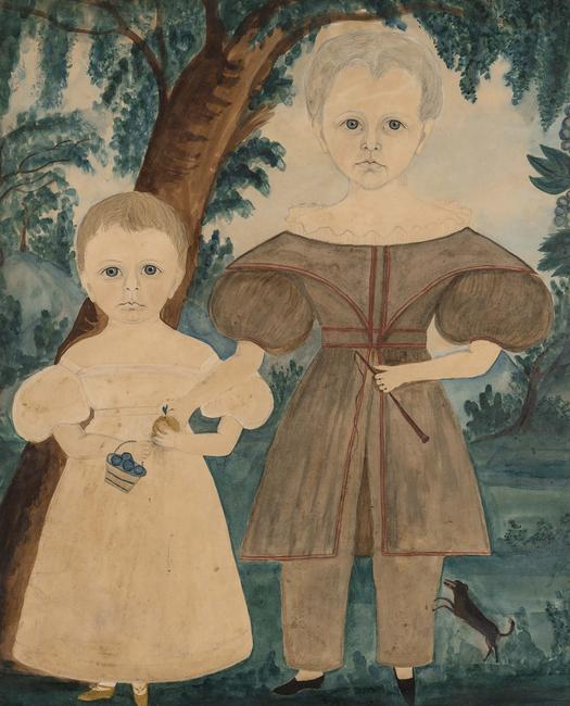 Ruth Whittier Shute and Samuel Addison Shute, Portrait of Two Children from the Prescott Family with a Dog, circa 1831, Watercolor and pencil on paper.  Est.  $100,000-150,000.  Lot 373.