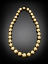South Sea pearls come in a rainbow of colors.  This opulent necklace showcases pearls of the highly sought-after gold hue.