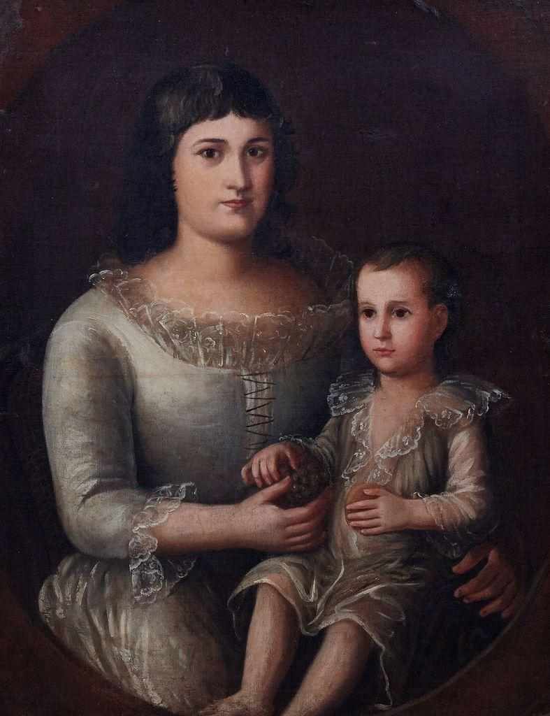 Mother-and-child oil portrait painting by Mexican-born Louisiana artist José Francisco Xavier de Salazar y Mendoza (1750-1802), one of two Salazars in the auction (est.  $80,000-$120,000).
