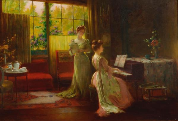 Oil on canvas painting by Sarkis Diranian (Turkish, 1854-1918), titled The music room ($2,000-3,000).