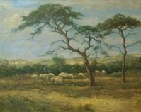 Johan Scherrewitz (Dutch, 1868-1951) Grazing of the Flock, oil on canvas, 31 x 39 inches.