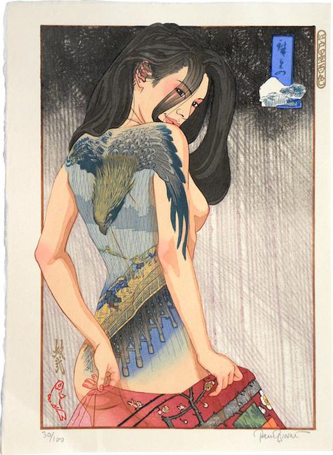 "Paul Binnie ""A Hundred Shades of Ink of Edo: Hiroshige's Edo"" 2015 Woodblock print 16 3/4 by 12 1/8 inches"