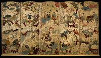 A French 18th century silk and embroidered five panel screen.