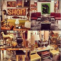 a collage photo of my booth at the Antique and Design Center during High Point