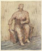 "Henry Moore.  Seated Woman, 1948.  pencil, wax crayon, ink and wash.  ""Henry Moore Family Collection and Hauser & Wirth, reproduced by permission of The Henry Moore Foundation"""