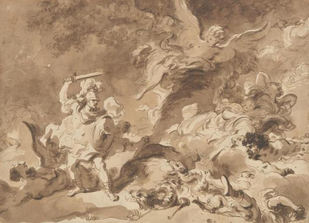 Jean Honoré Fragonard (French, 1732-1806).  Rinaldo in the Enchanted Forest, ca.  1763.  Brown wash over very light black chalk underdrawing.  The Metropolitan Museum of Art, New York, Purchase, Purchase, Louis V.  Bell, Harris Brisbane Dick, Fletcher, and Rogers Funds and Joseph Pulitzer Bequest; Guy Wildenstein Gift; The Elisha Whittelsey Collection, The Elisha Whittelsey Fund; Kristin Gary Fine Art Gift; and funds from various donors, 2009 (2009.236)