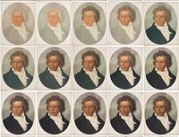 """Progressive Proofs of Beethoven, 1870, Produced by L.  Prang & Co., Lithographs on paper, 23.5"""" x 19"""","""