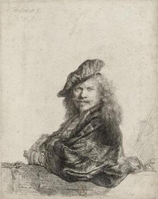 Rembrandt van Rijn, Self-Portrait Leaning on a Stone Sill, 1639.  Etching, with touches of drypoint; 8.07 x 6.45 in.  Bibliothèque nationale de France, Department of Prints and Photography.