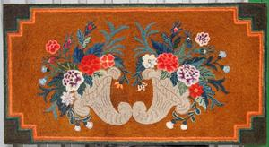 Double Cornucopia hooked rug, a brilliantly colored, finely hooked example from Maine