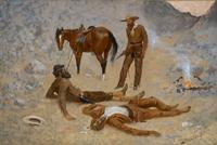 "Frederic Remington's painting ""He Lay Where He Had Been Jerked, Still as a Log"", a 24 ¼ x 36 ¼ oil on canvas, estimated at $1,000,000-$1,500,000, sold for $1,583,000."
